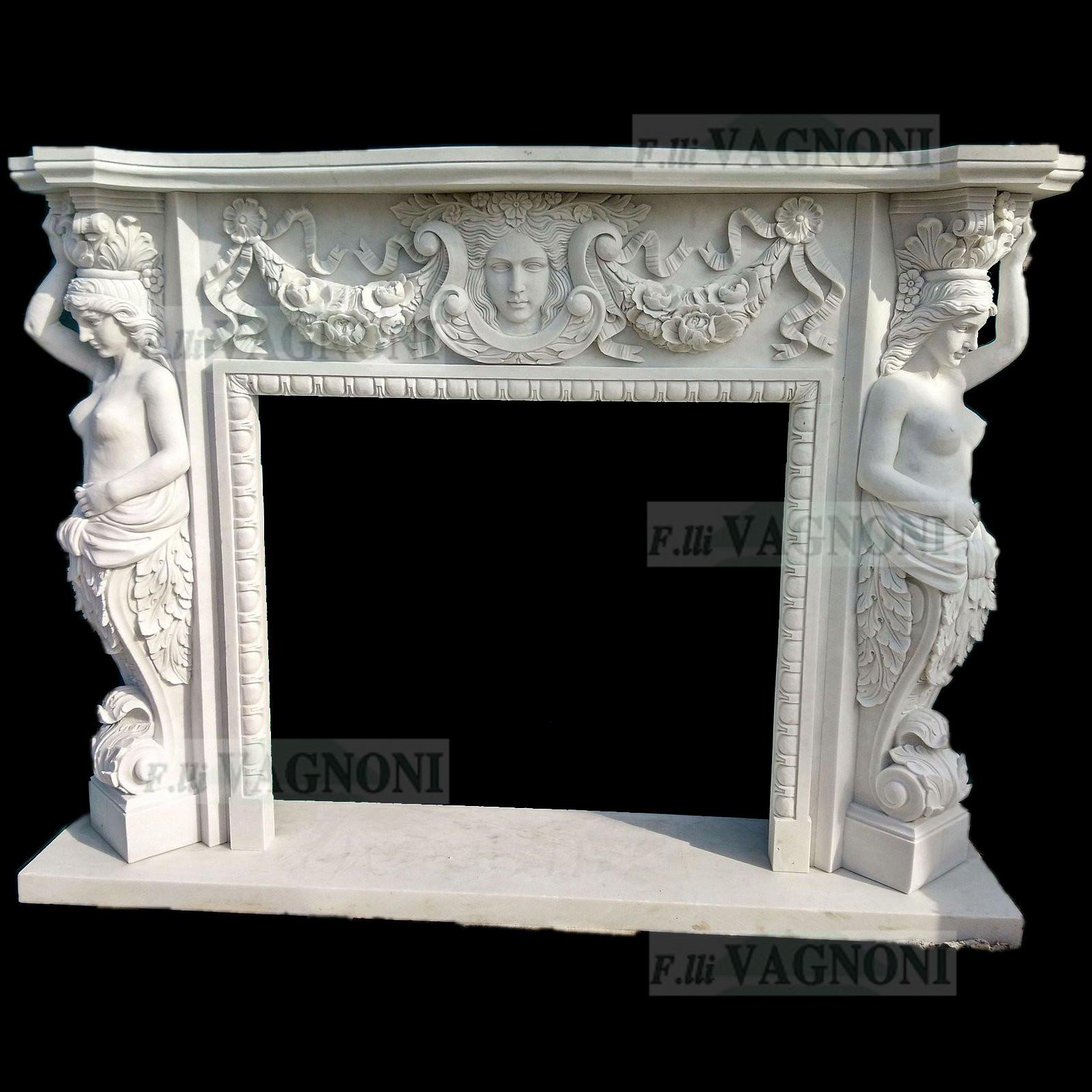 Camino in marmo bianco con statue mod. e cm. 180 [180biancoe ...
