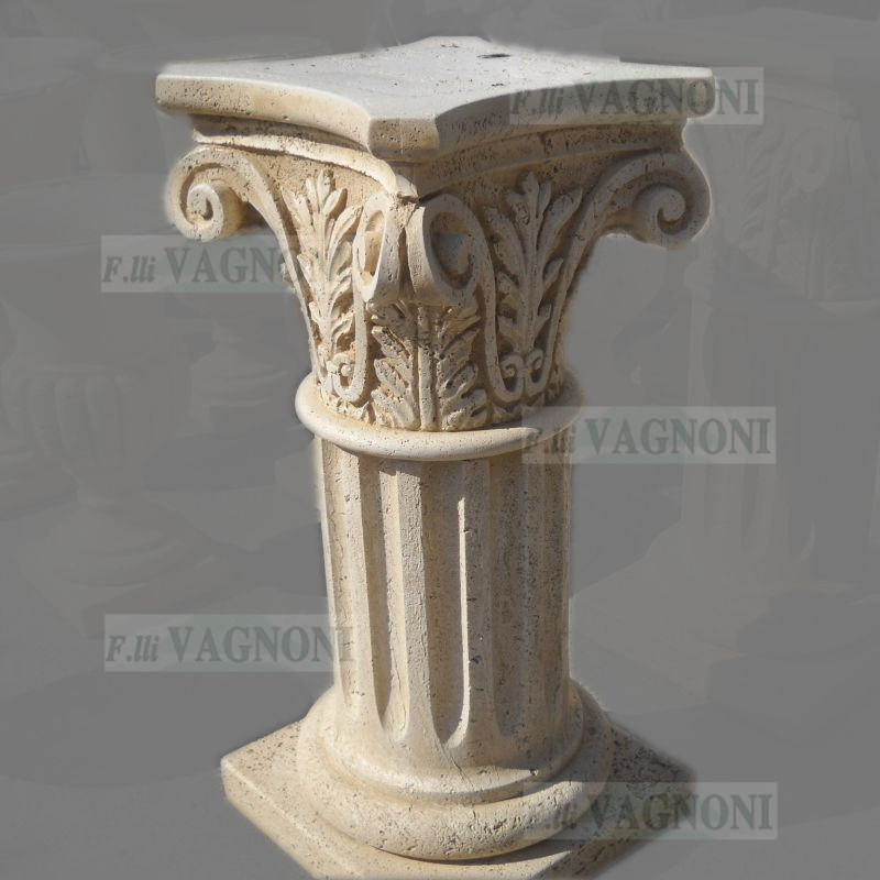 COLONNA CAPITELLO CORINZIO TIPO TRAVERTINO CM. 76