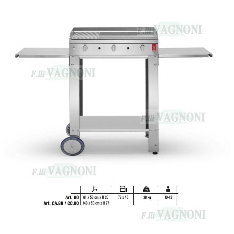 "BARBECUE A GAS PLANET SERIE ""CHEF"" 80 IN ACCIAIO INOX + CA"