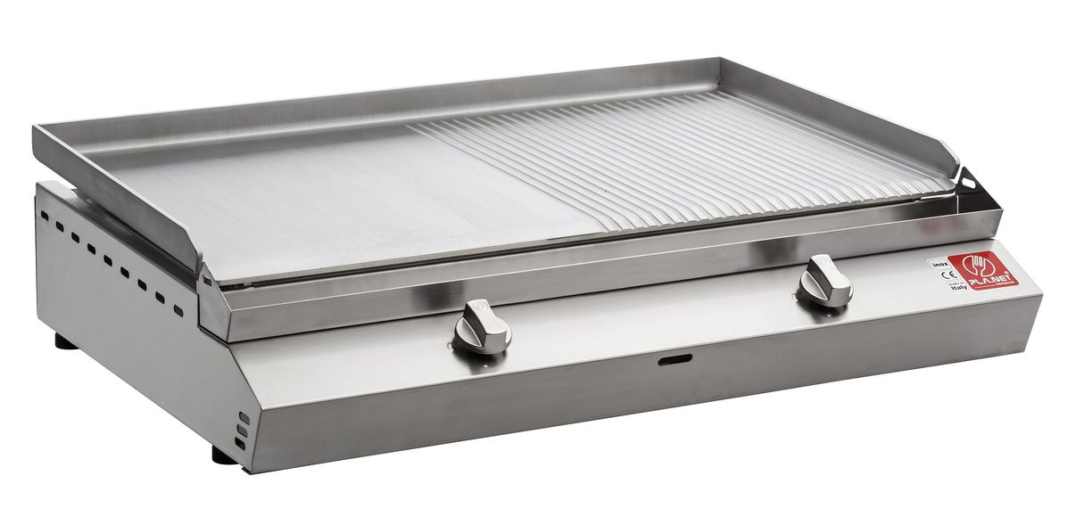 "BARBECUE PIASTRA A GAS PLANET SERIE ""MOMA"" 80T IN ACCIAIO INOX"