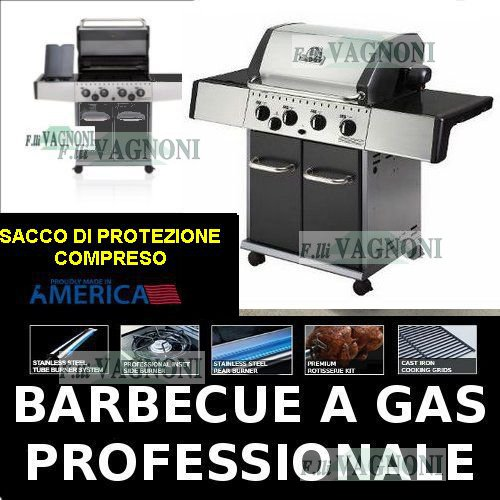 BARBECUE A GAS HUNTINGTON REBEL 4 + FORNELLO + SACCO