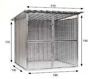 BOX PER CANI IN LAMIERA COMPOLNIBILE CM. 190X190 FILO DA 2 mm.
