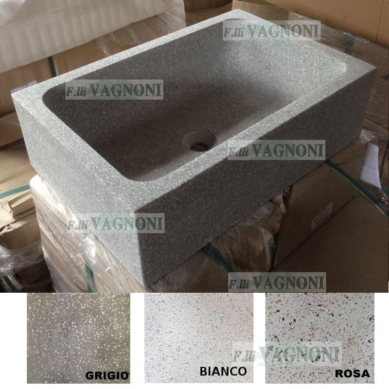 Lavandino In Graniglia Di Marmo E Cemento Levigato Cm 68x45 Lav