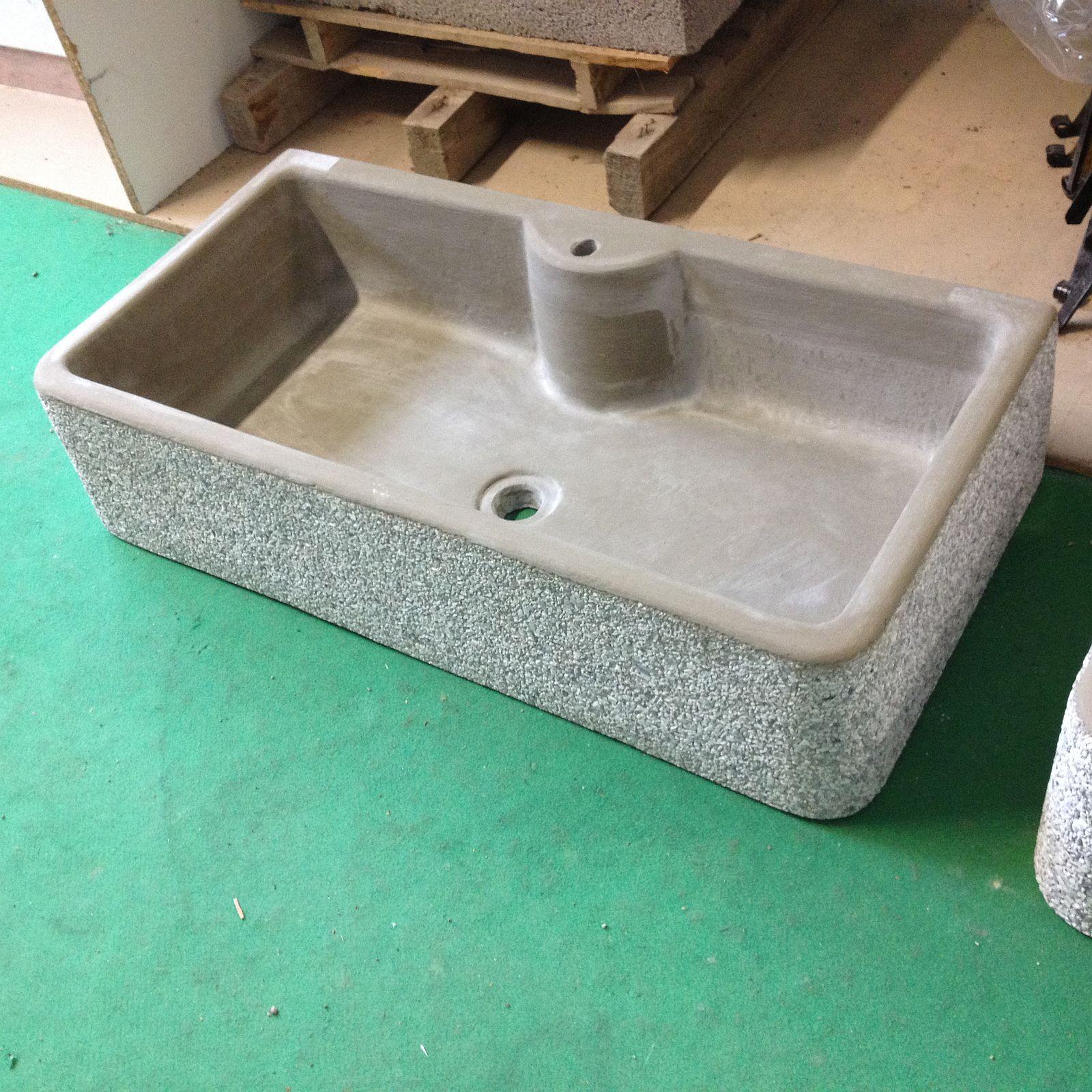 Lavandino lavello in cemento grigio granigliato una vasca cm 92 lav 1vasc 93 160 00 - Lavandino per giardino ...