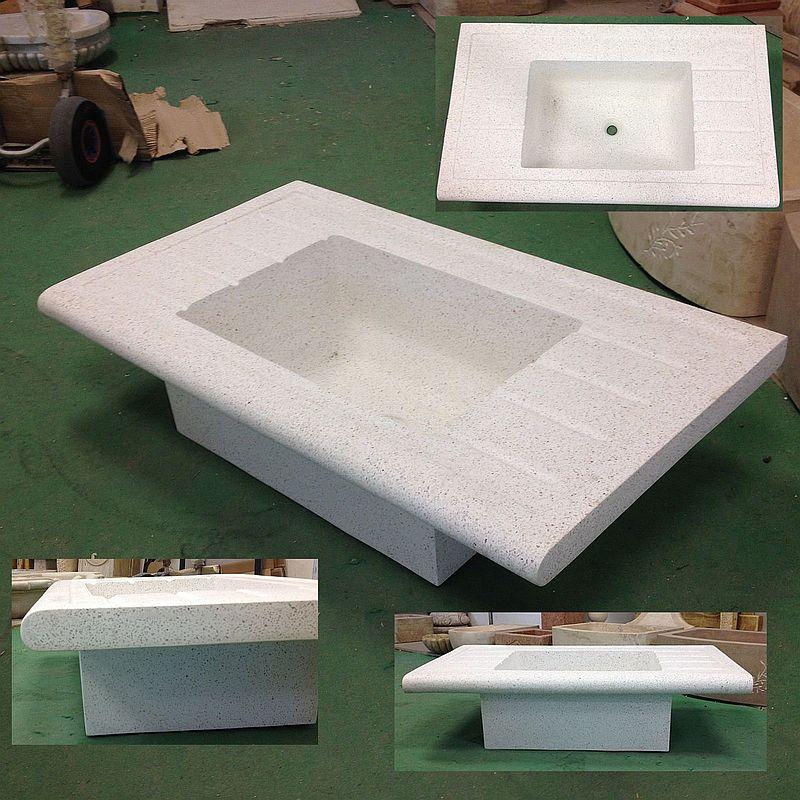 Lavandino in graniglia di marmo e cemento cm 110 inc lav - Lavelli da esterno in resina ...