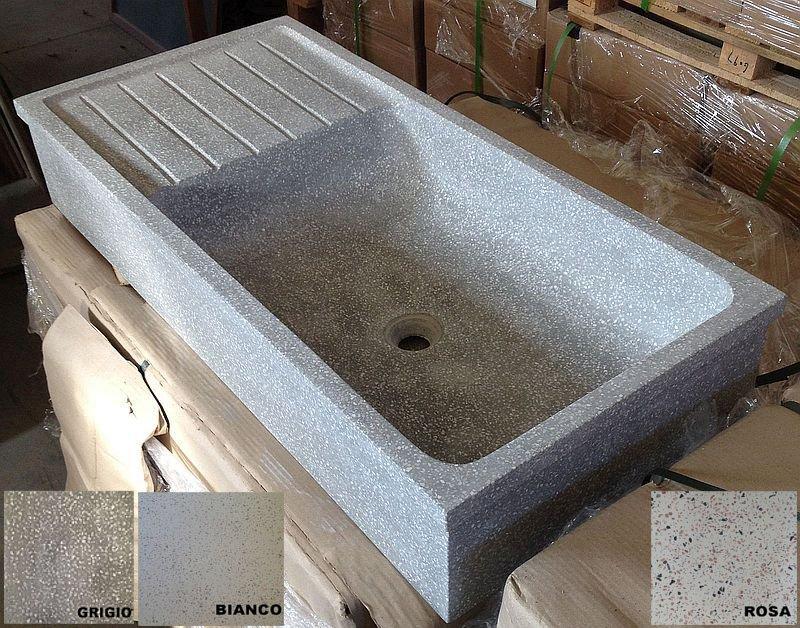 Lavandino in graniglia di marmo e cemento levigato cm - Lavandino in pietra cucina ...