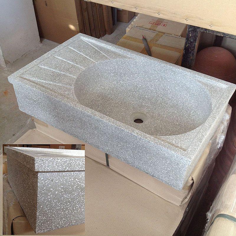 Lavandino in graniglia di marmo e cemento g levigato cm - Lavandino in pietra per esterno ...