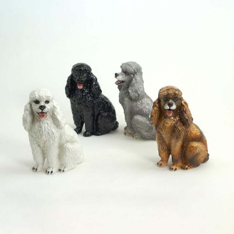 STATUA CANE BARBONCINO IN CERAMICA CM. 30 NEW -ANIMALI-
