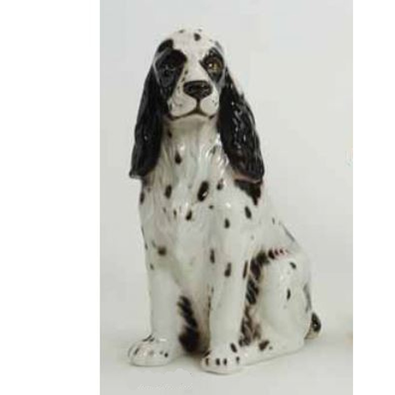 STATUA CANE COCKER BIANCO IN CERAMICA CM. 55 -ANIMALI-