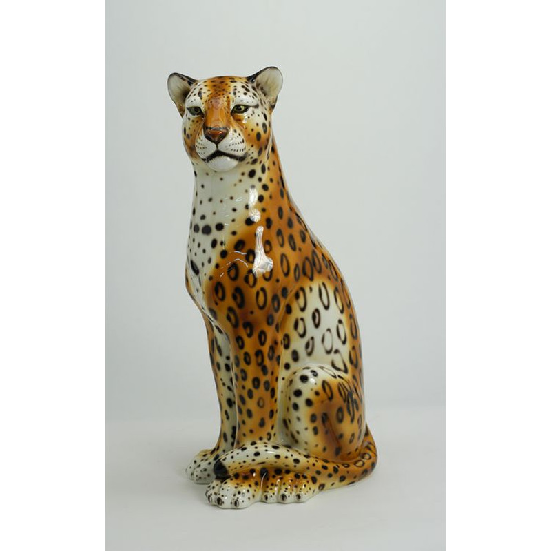 STATUE LEOPARDO MARRONE IN CERAMICA CM. 90 -ANIMALI-
