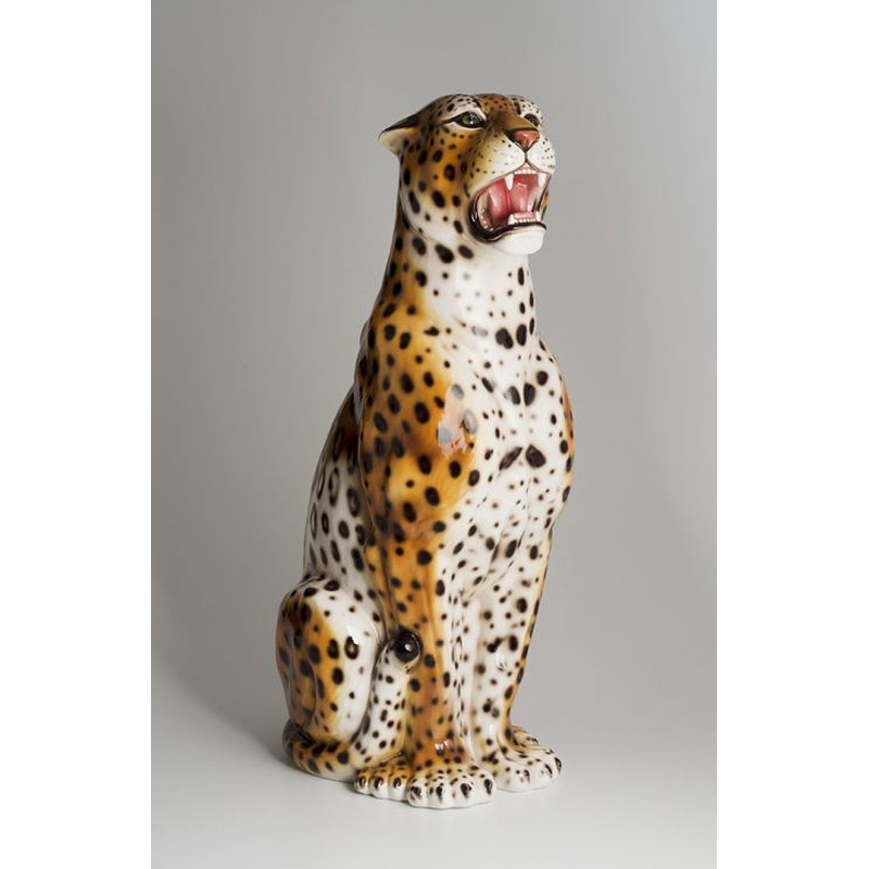 STATUE LEOPARDO MARRONE IN CERAMICA CM. 100 -ANIMALI-