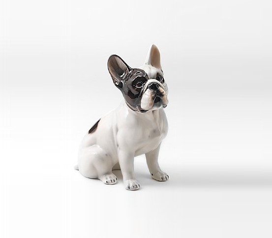 STATUA CANE BOULEDOGUE IN CERAMICA CM. 34 -ANIMALI-