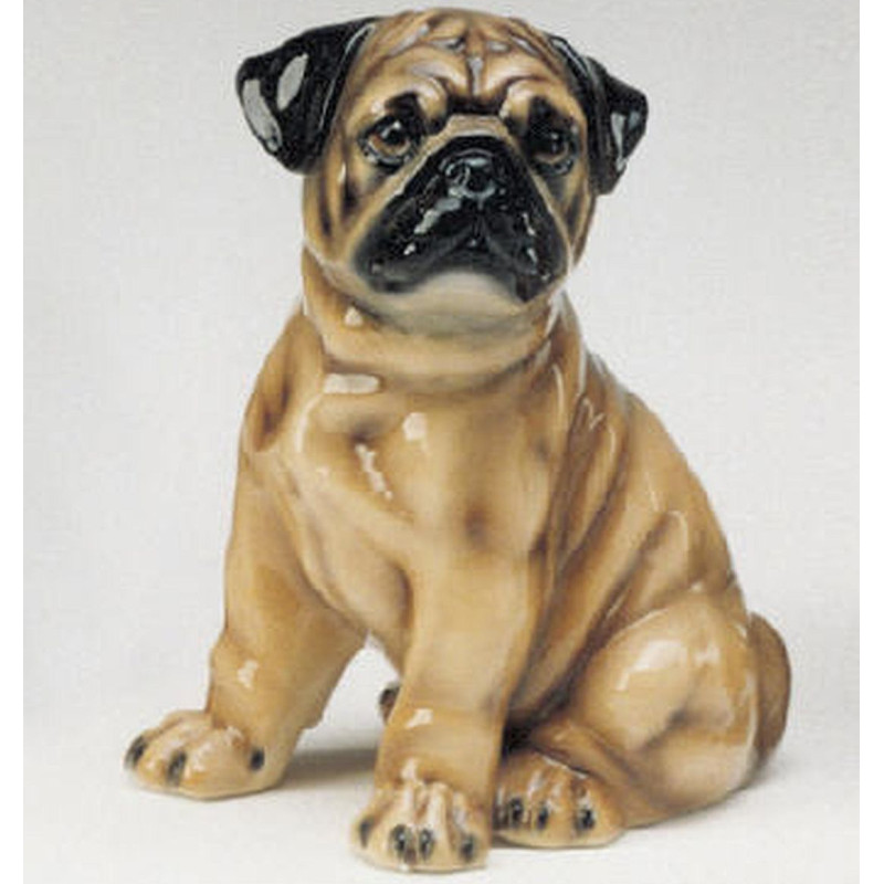 STATUA CANE CARLINO IN CERAMICA CM. 30 -ANIMALI-