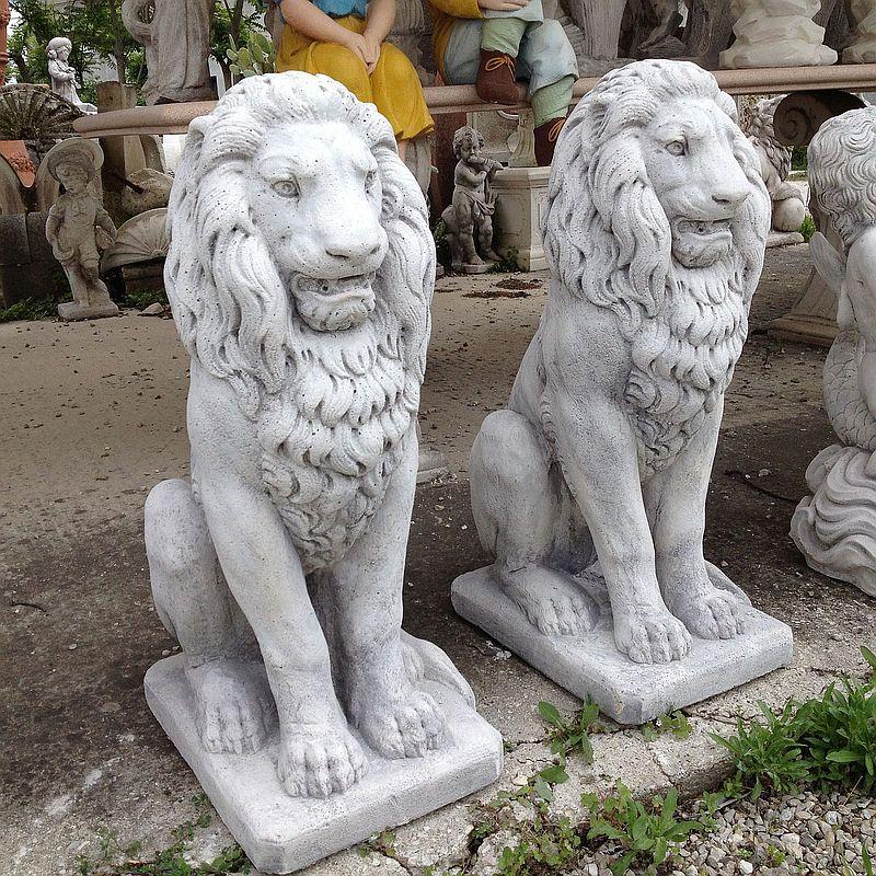 Coppia leoni dritto in cemento e marmo cm 80 - Statue da giardino in resina ...