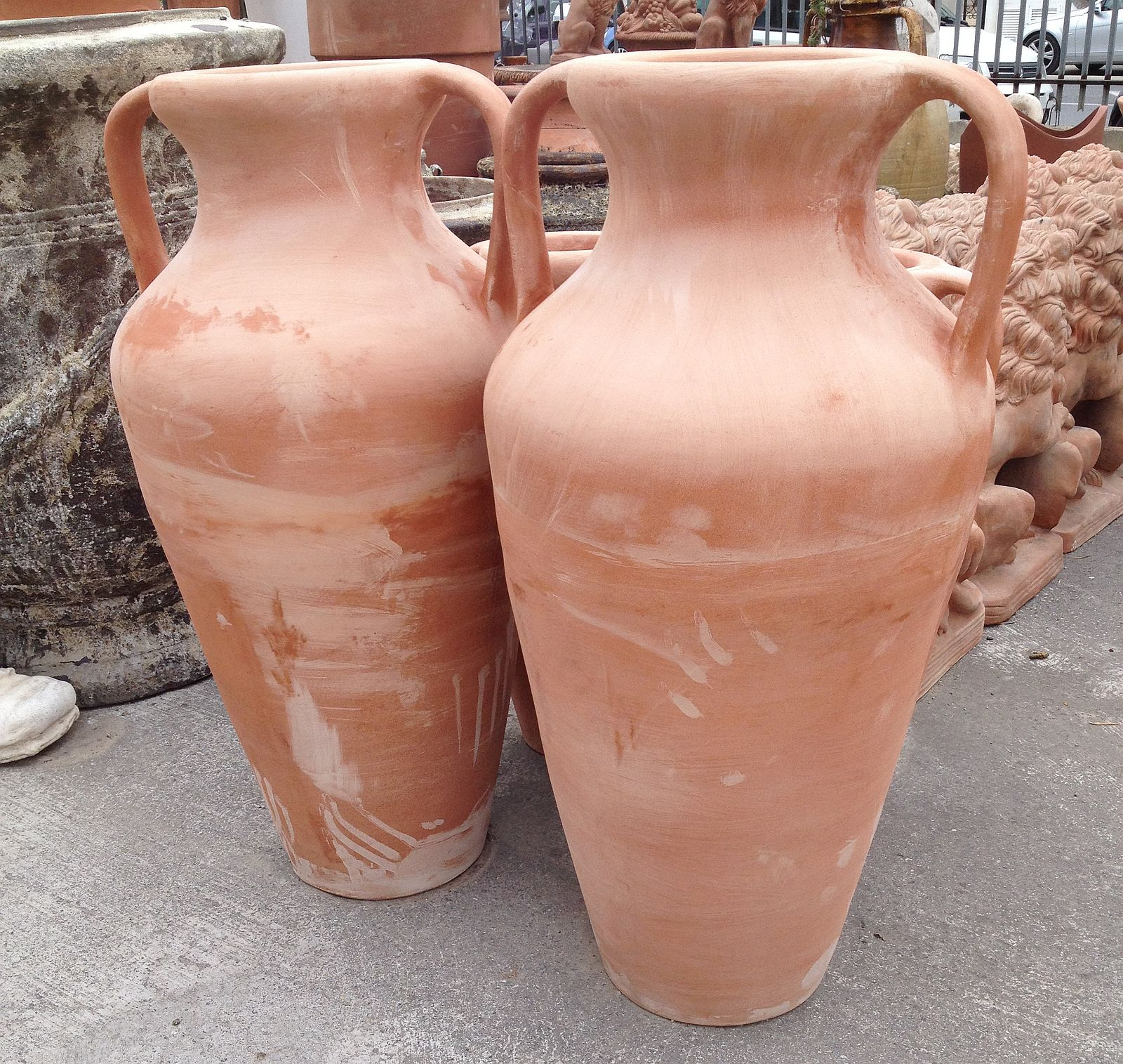 COPPIA DI ANFORE ROMANE IN TERRACOTTA TOSCANA CM. 96