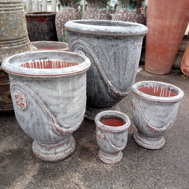 SET 4 PEZZI VASO ANDUZE IN TERRACOTTA DECORATA ANTICATA