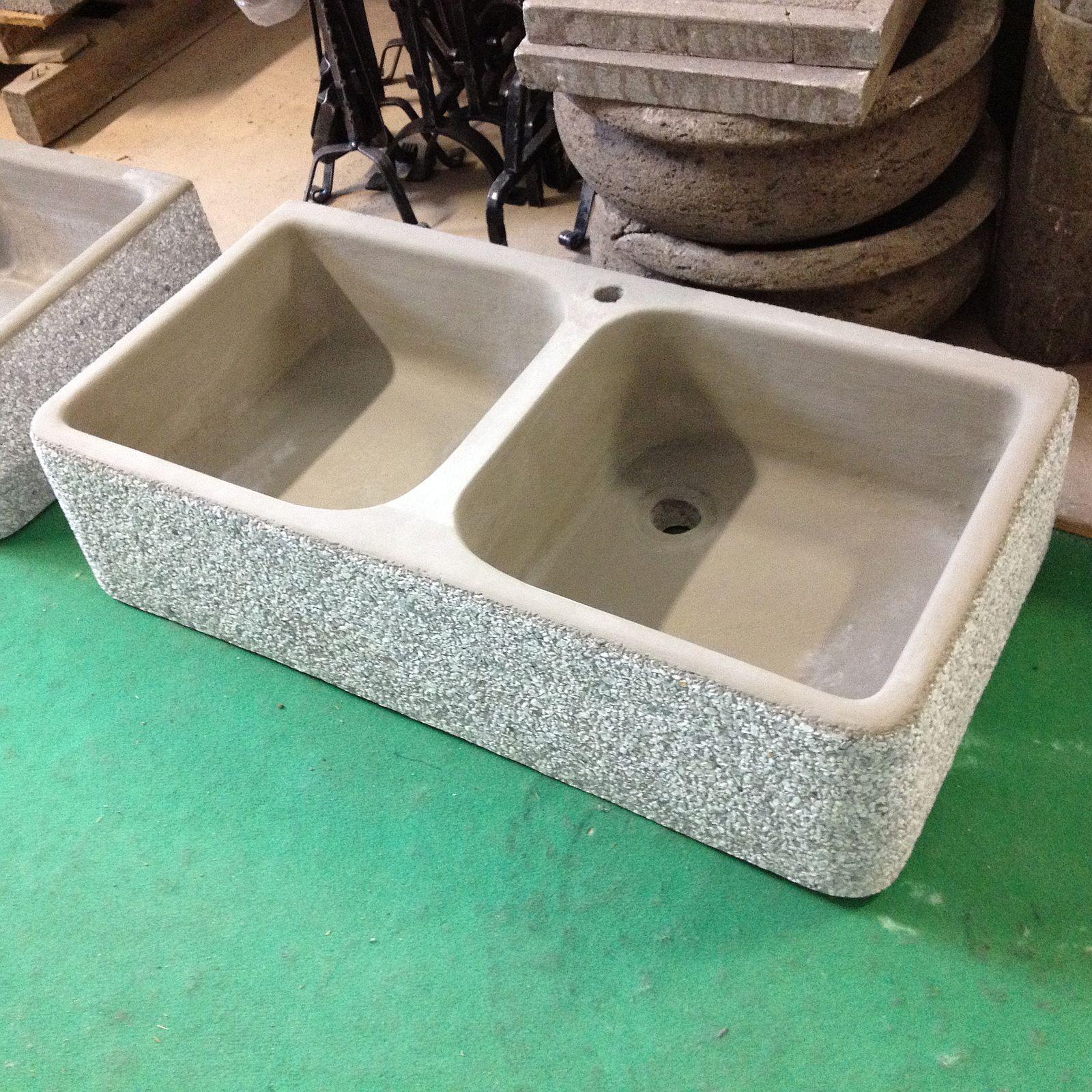Vasche In Pietra Per Fontane lavandino lavello in cemento grigio granigliato 2 vasche cm