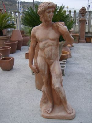 "STATUA IN TERRACOTTA TOSCANA ""DAVID MICHELANGELO"" Cm.120"