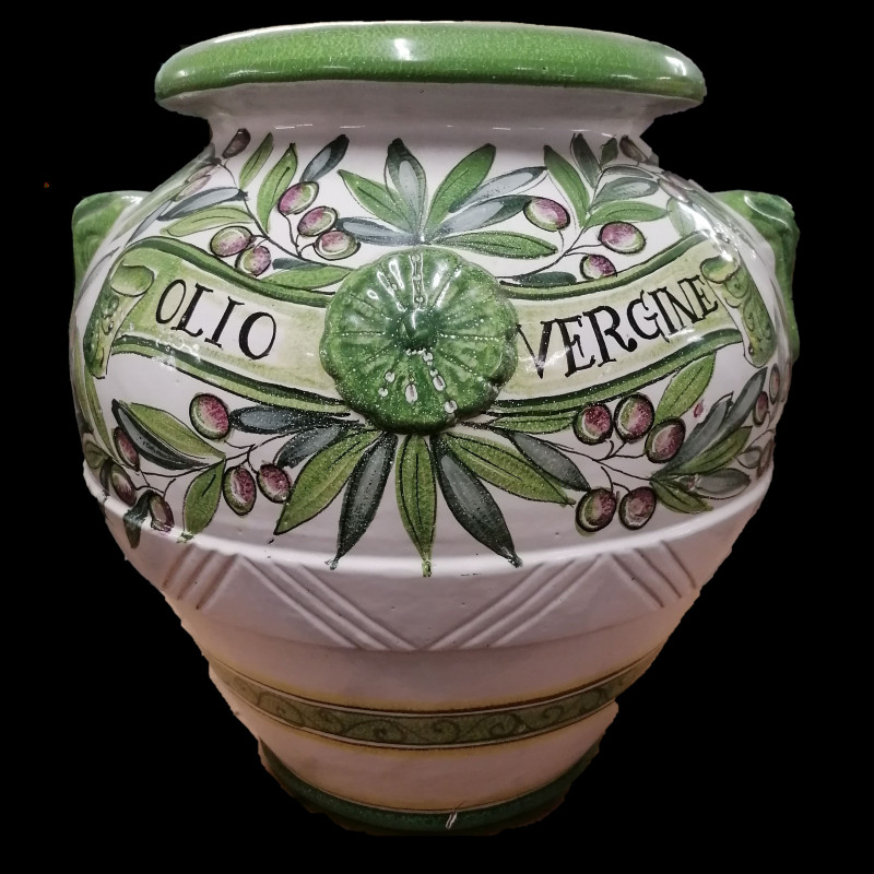 ORCIO ANFORA IN TERRACOTTA DECORATA OLIO SMALATA CM. 60
